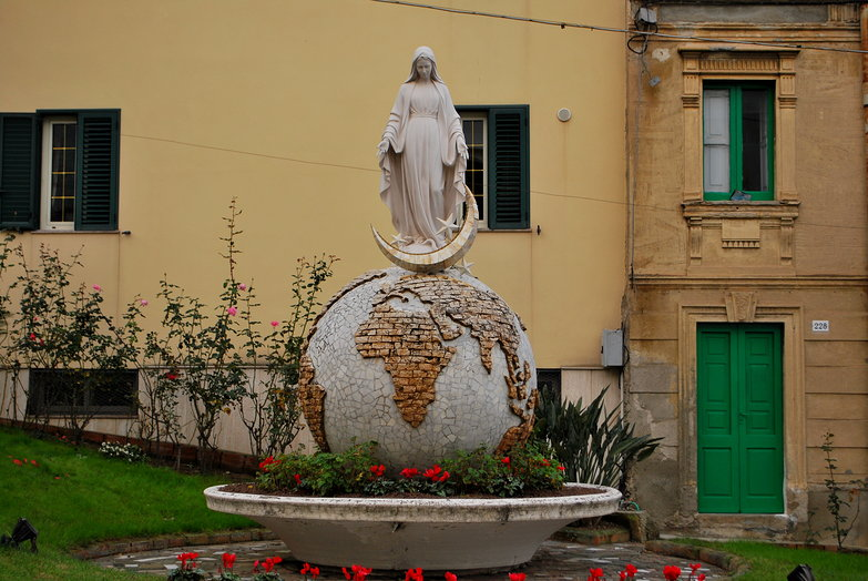 Virgin Mary on Globe w/ Moon