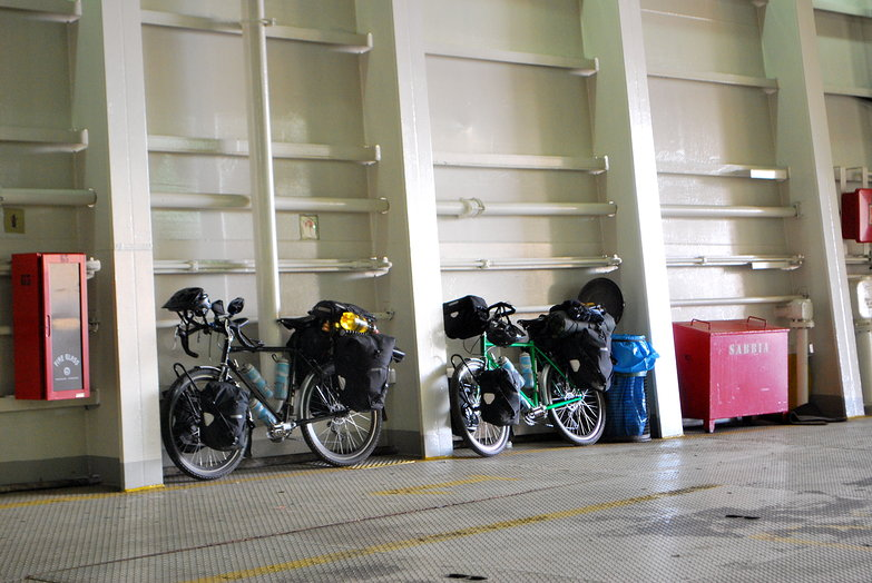 Our Bikes on the Ferry to Sicily