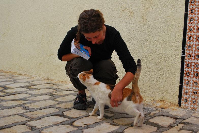 Tara Petting a Stray