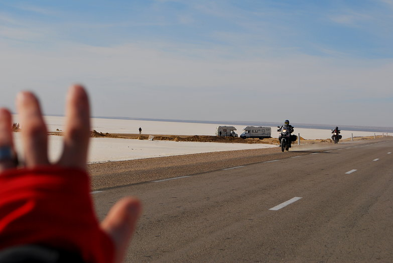 Waving to Motorcyclists