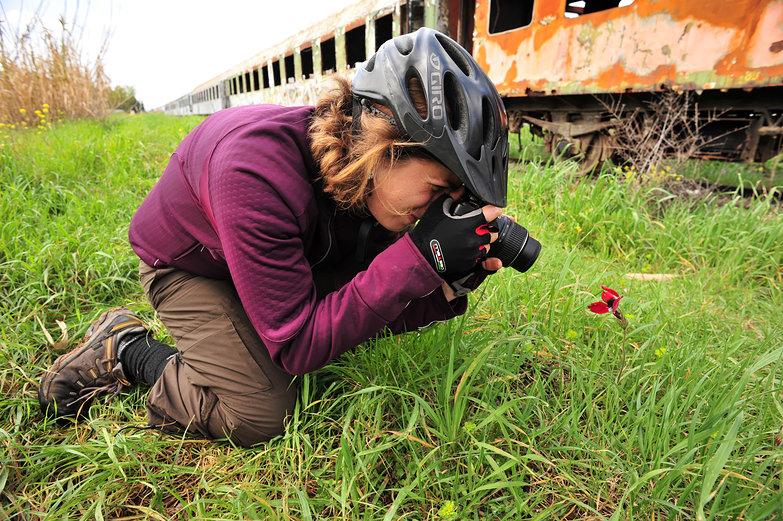 Tara Photographing a Poppy