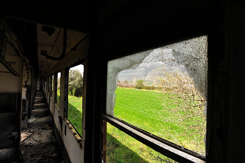 Shattered Train Window