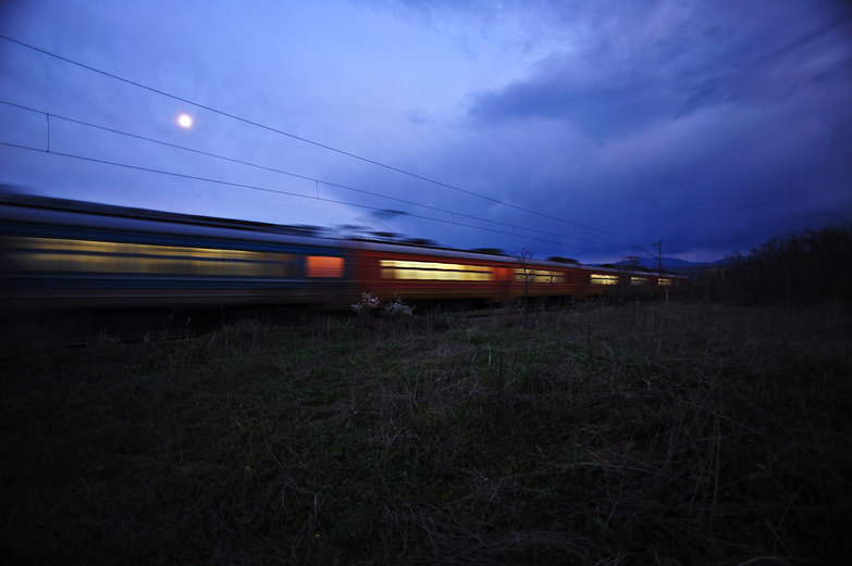 Macedonian Train & Moon