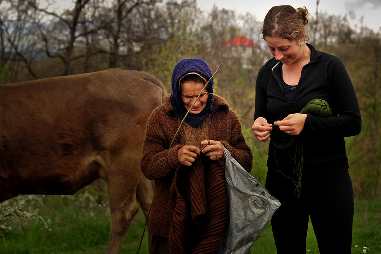 Romanian Woman & Tara Knitting