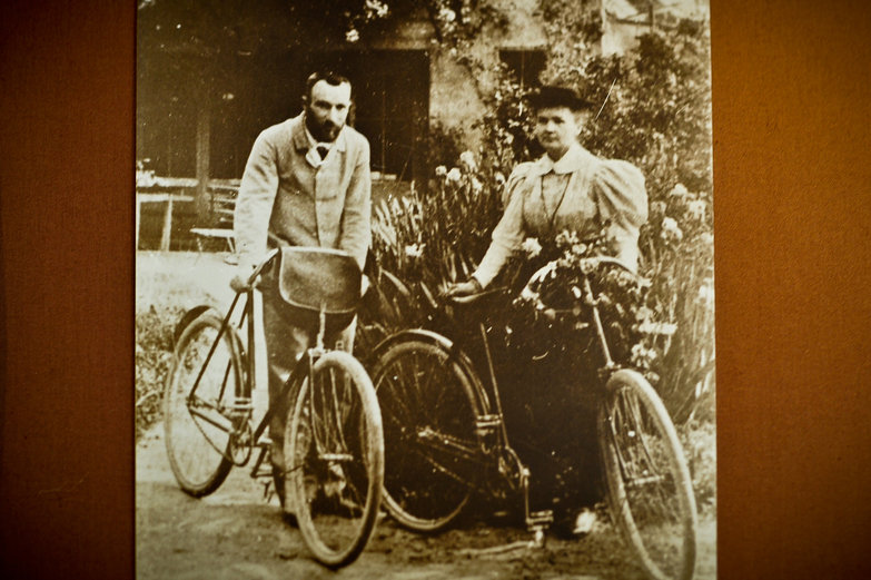 Marie Curie & Husband With Bikes on Honeymoon