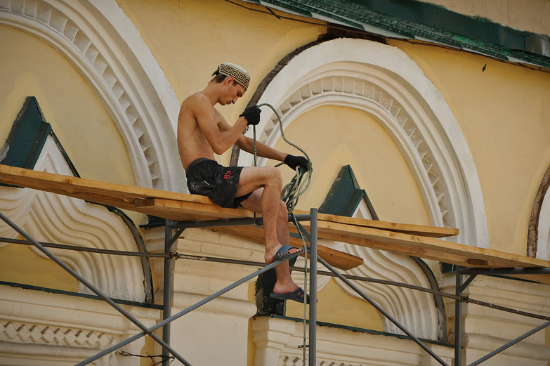 Russian Man Working