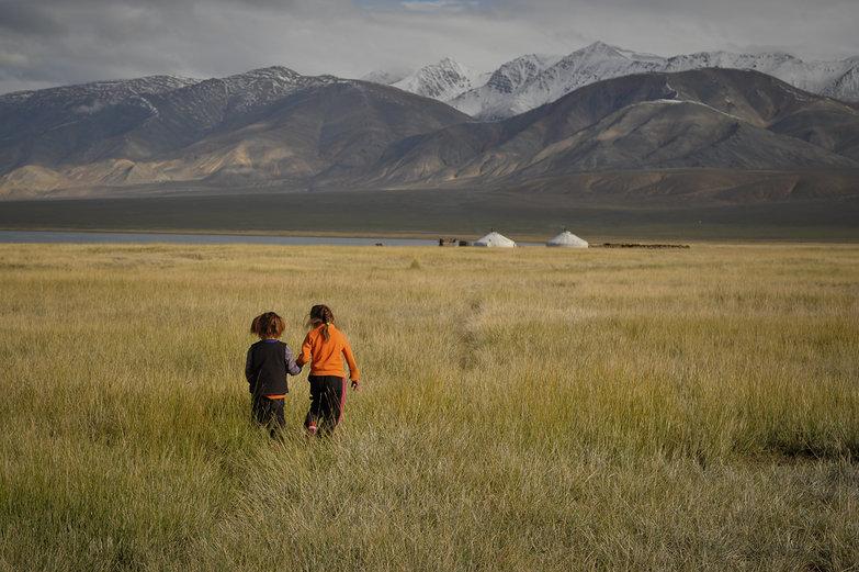 Mongolian Girls Running Home