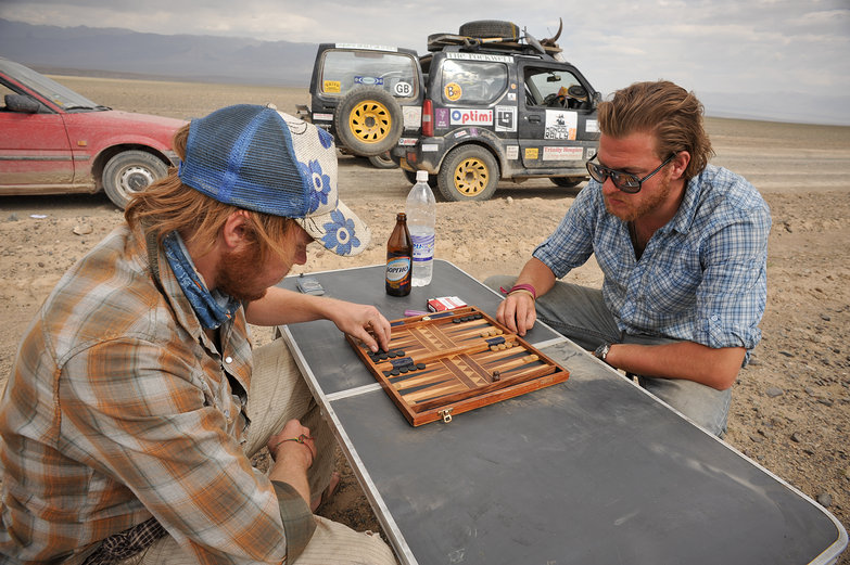Tim & Richie Playing Backgammon in the Desert