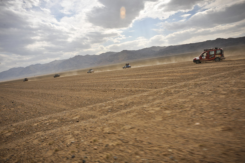 Convoy Driving Through the Desert
