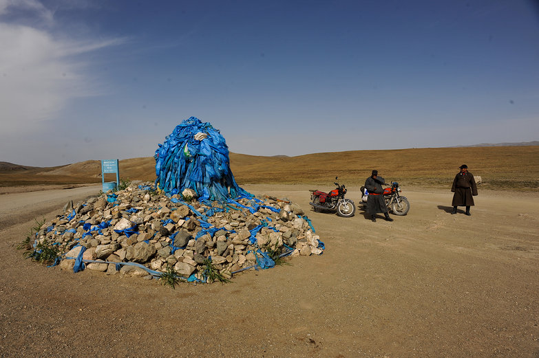 Mongolian Shrine & Motorcyclists