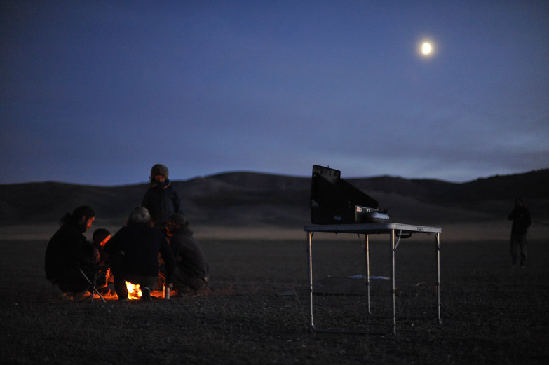 Mongolian Moonlit Campfire