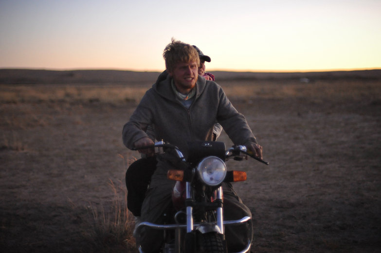 Excited Charlie on Mongolian Motorbike