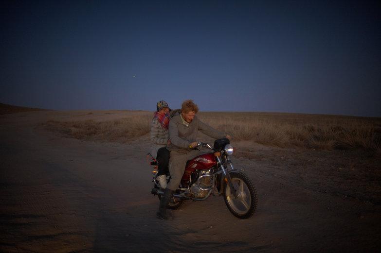 Mette & Charlie on Mongolian Motorbike