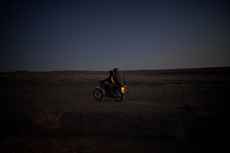 Tyler & Charlie on Mongolian Motorbike