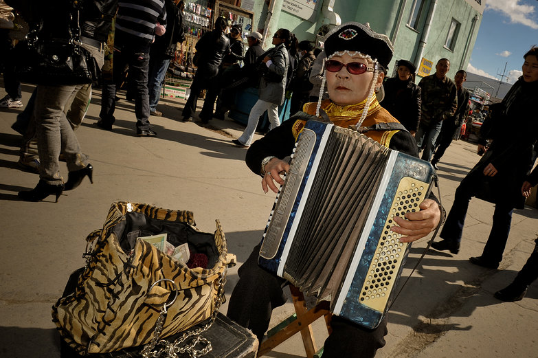 Mongolian Accordion Busker