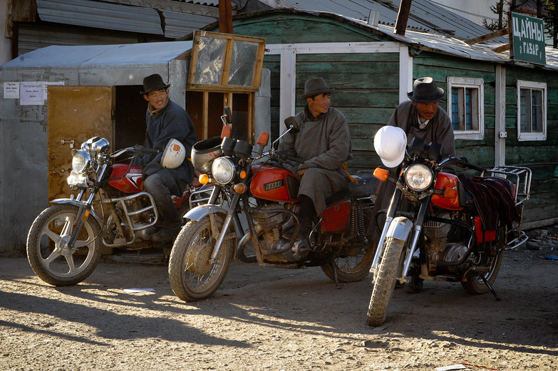Mongolian Motorcycle Dudes