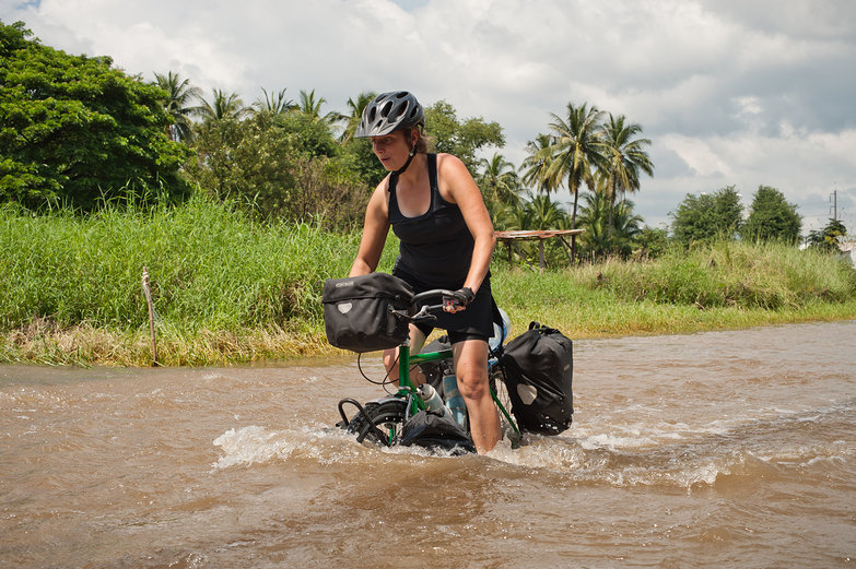 Tara Cycling in a Flood