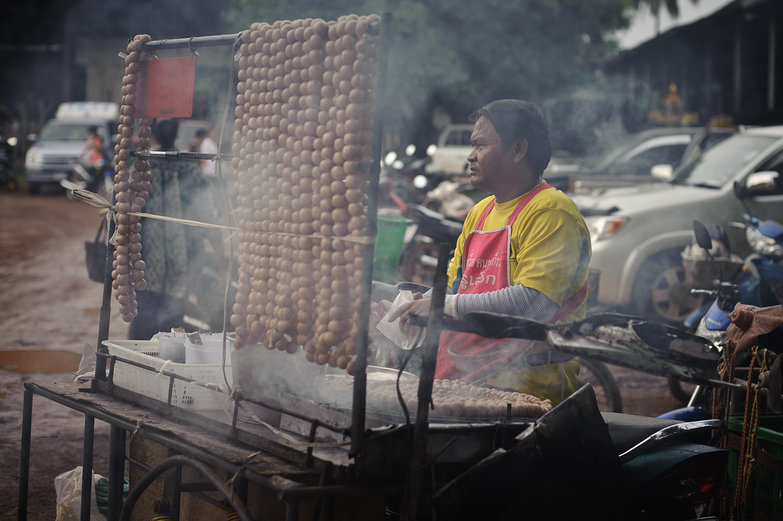 Thai Market Man with Smoky Sausages