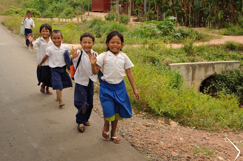 Khmer Children Waving Hello