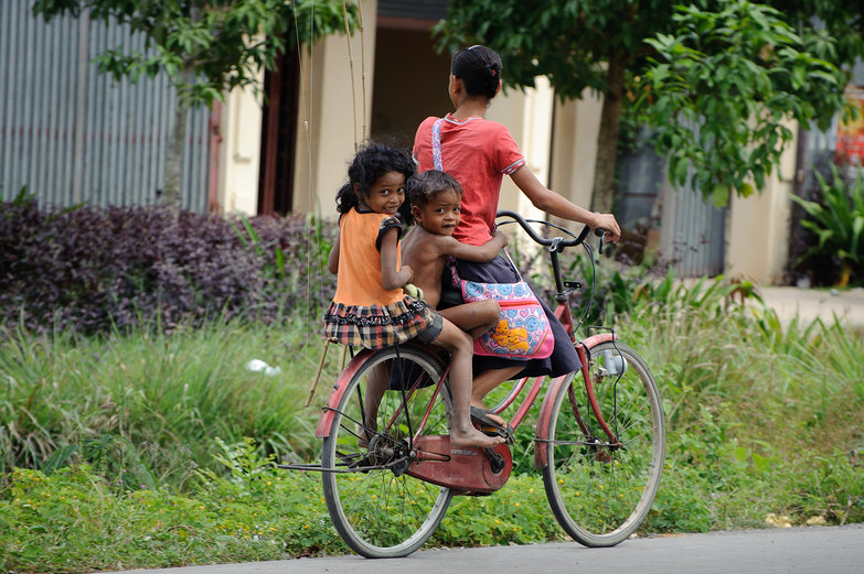 Cambodian Kids & Mother on Bike