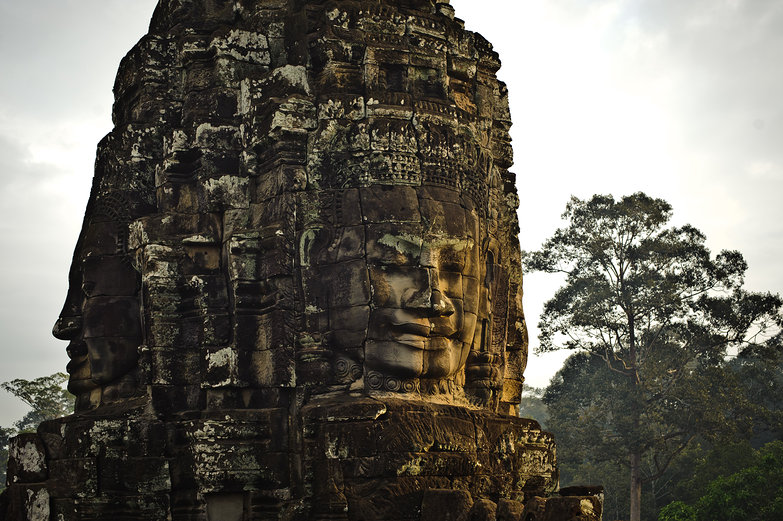 Morning Sun on Faces of Bayon