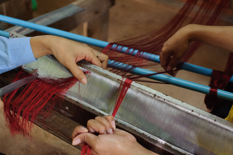 Preparing to Weave Silk