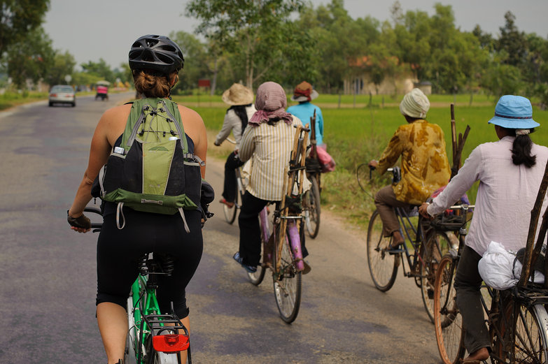 Tara Cycling with Cambodian Women