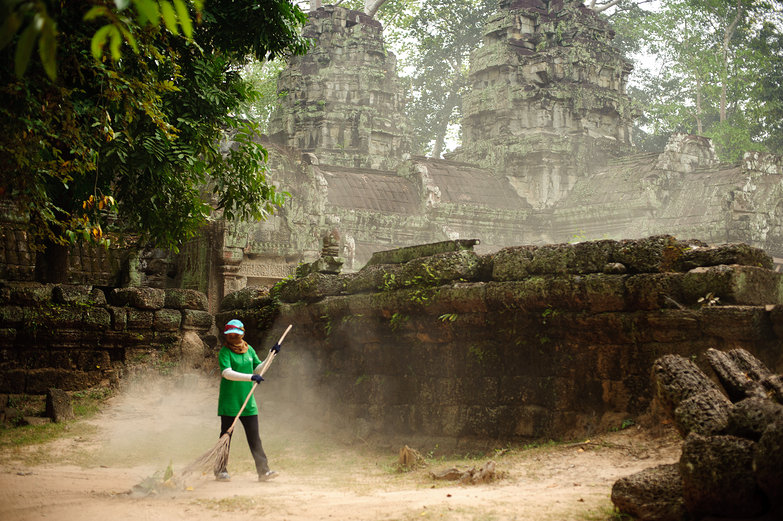Morning Sweeper at Ta Prohm Temple
