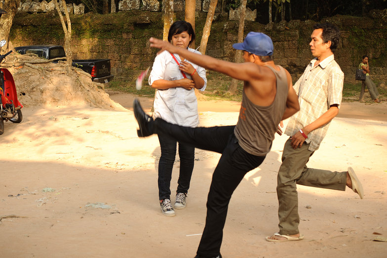 Playing Cambodian Hackysack