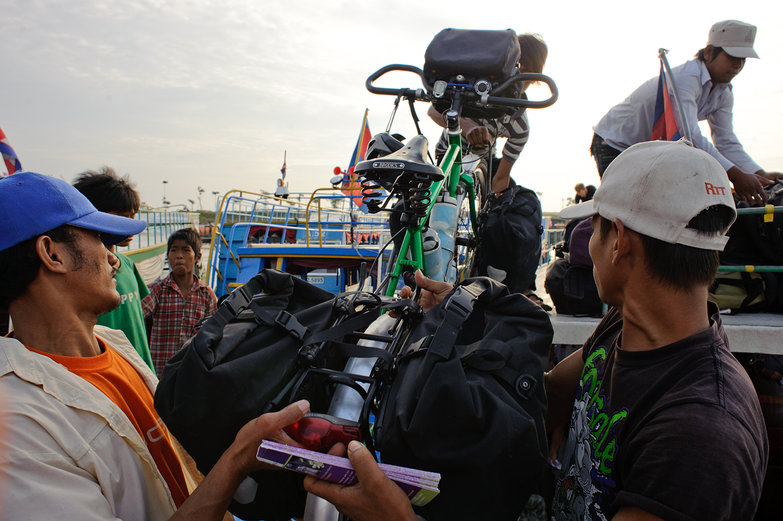 Loading Bikes on the Boat to Battambang