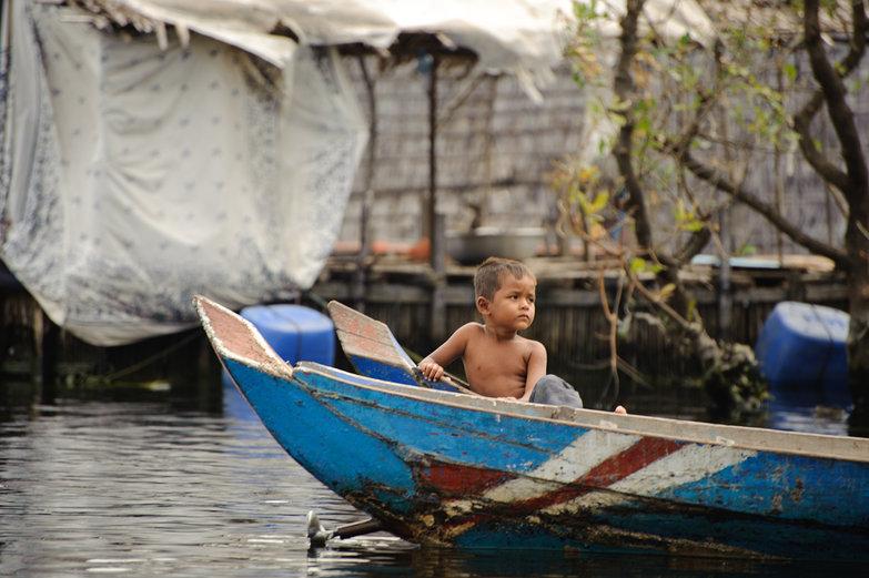 Cambodian Boy on Boat