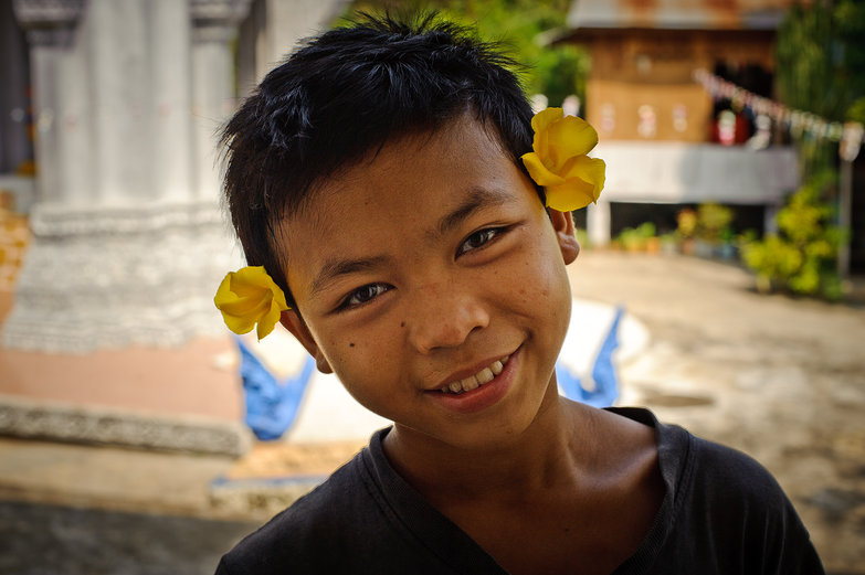 Sokhem with Flowers Behind his Ears