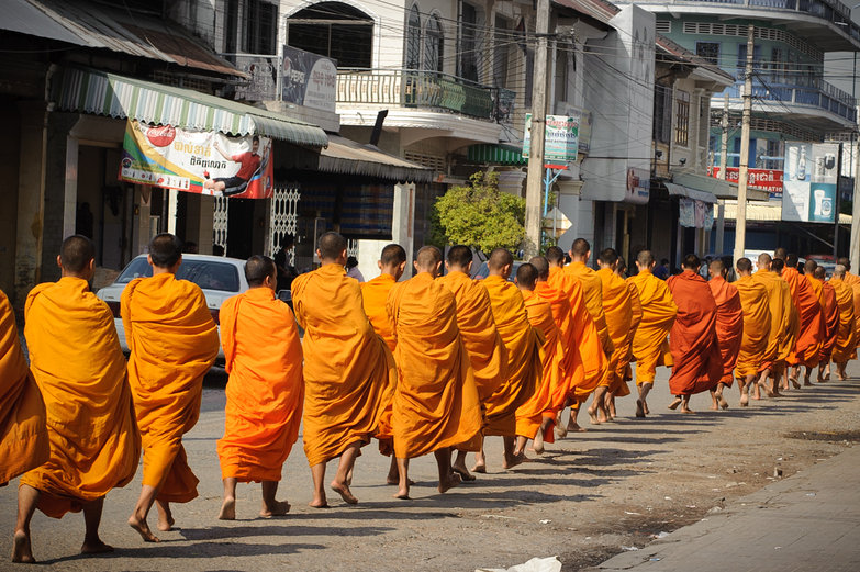 Cambodian Monks Walking