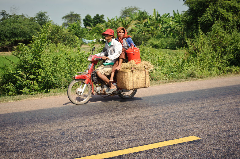 Cambodian Couple on Scooter