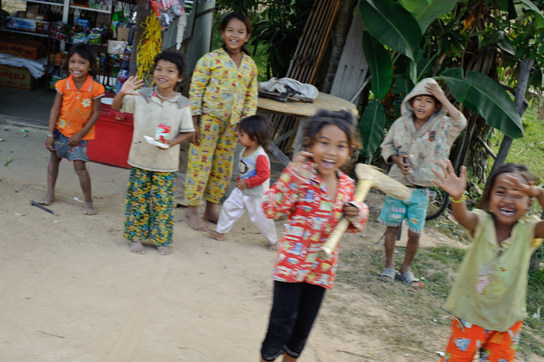 Khmer Kids Waving Hello