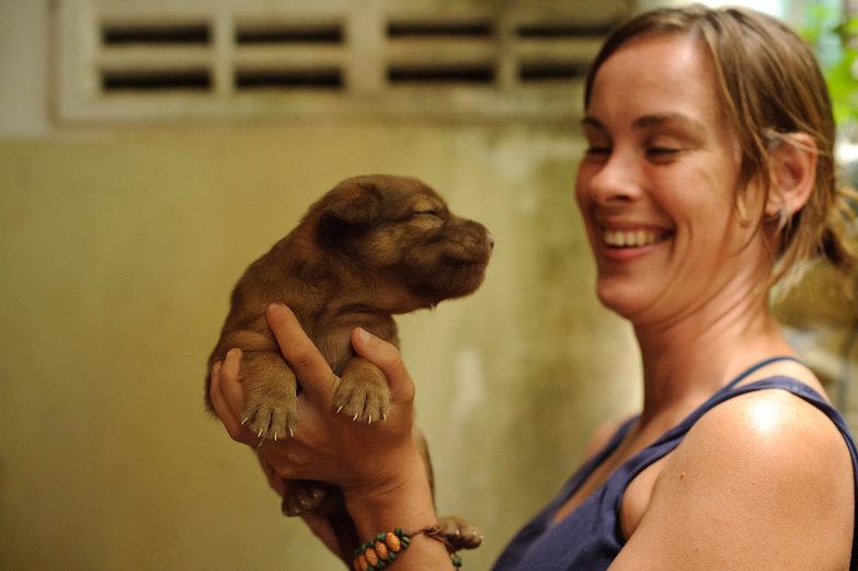 Natasha & Cambodian Puppy