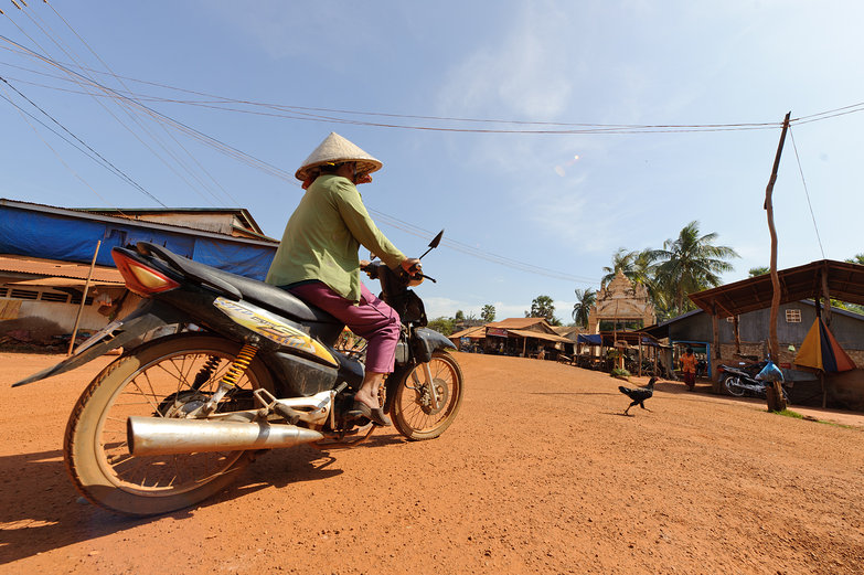 Cambodian Woman on Motorbike