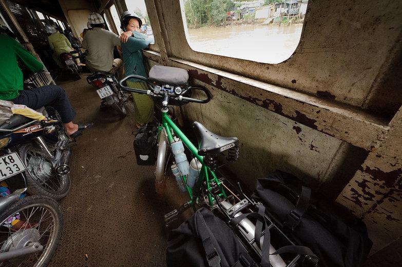 Tara's Bike on a Vietnamese Ferry