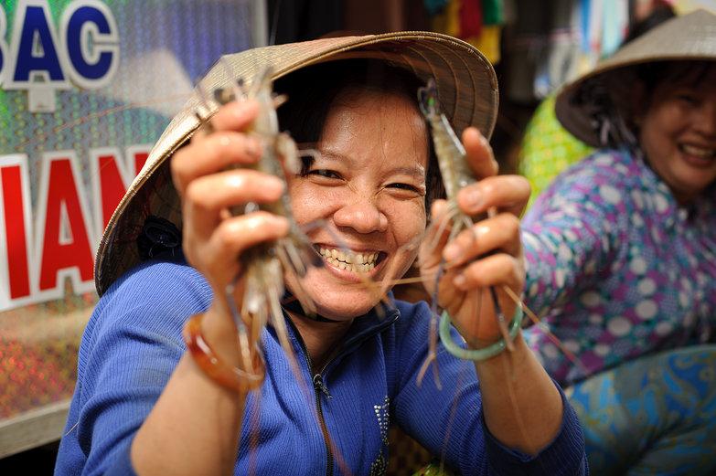 Vietnamese Prawn Seller