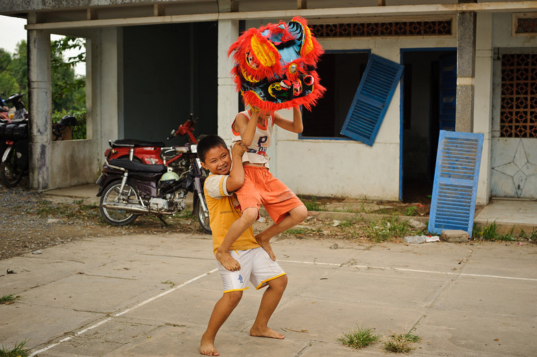 Vietnamese Kids Practicing Dragon Dance