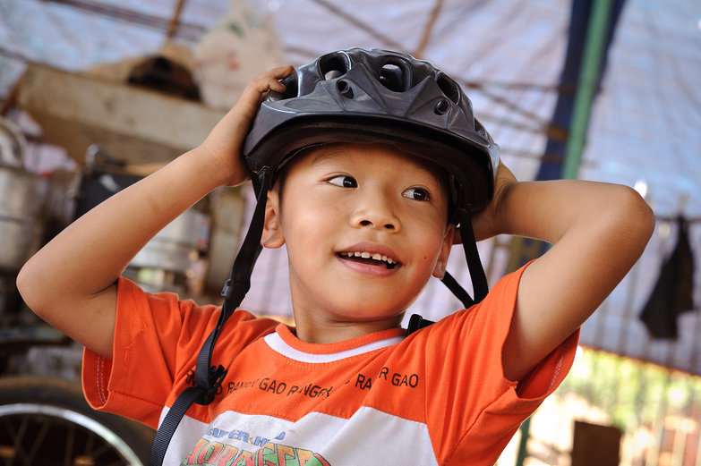 Vietnamese Boy & Tara's Helmet