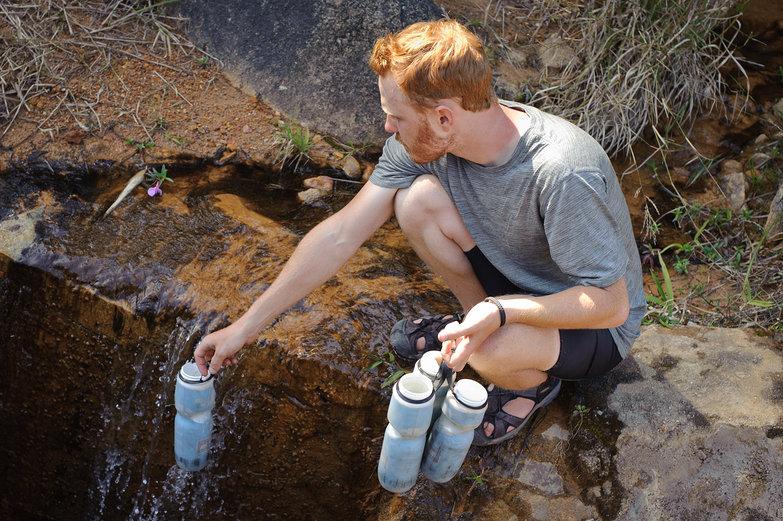 Tyler Filling Water Bottles