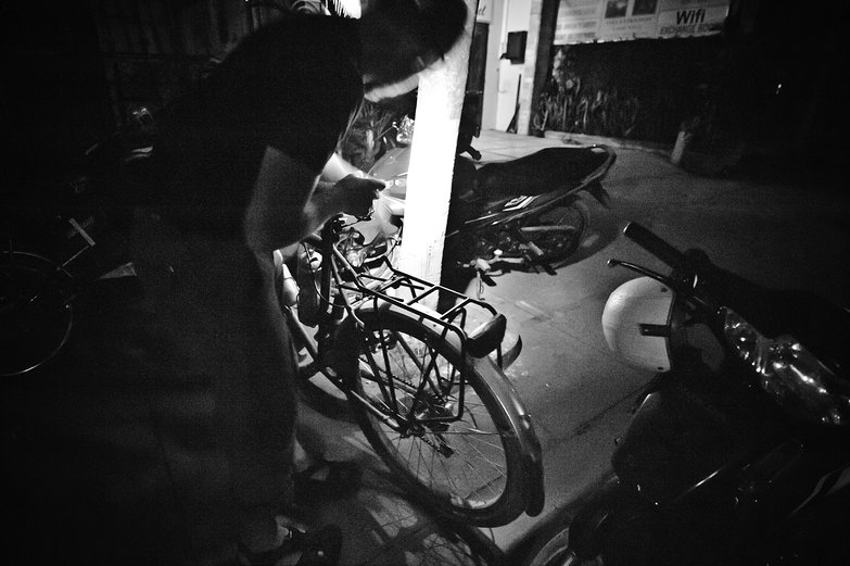 Tyler Putting the Wheels Back on Our Bikes