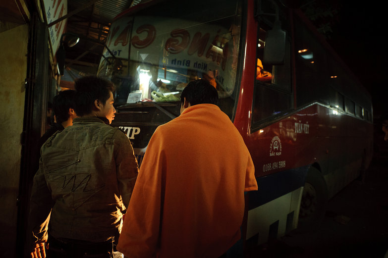 Late-Night Bus Stop Outside Hanoi