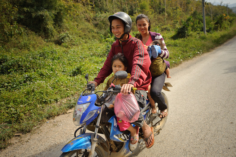 Lao Family on Motorbike