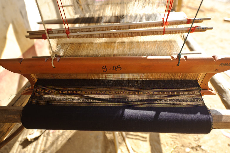 Weaving a Scarf on Lao Loom