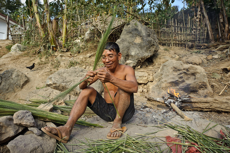 Lao Man Preparing Grasses For Broom-Making