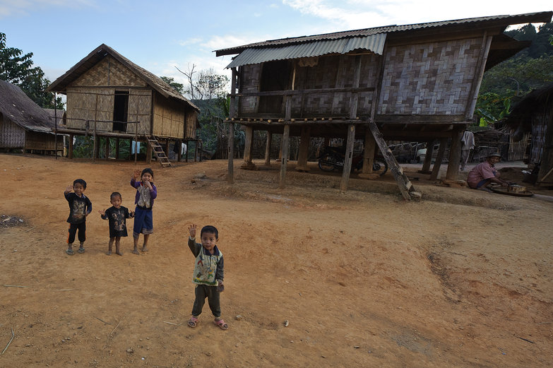 Lao Kids Waving Hello