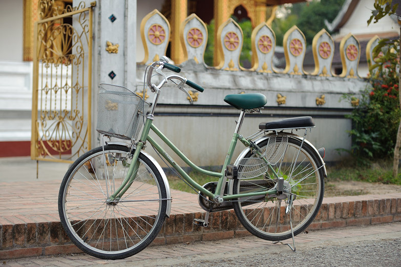 Luang Prabang Bicycle in front of a Wat