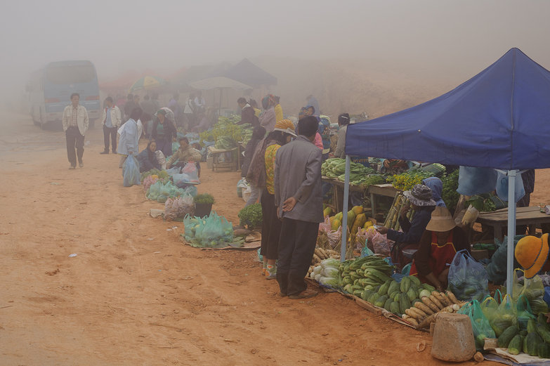 Phou Khoun Market in the Mist